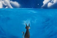 満月と猫 Black Cat Under Full Moon